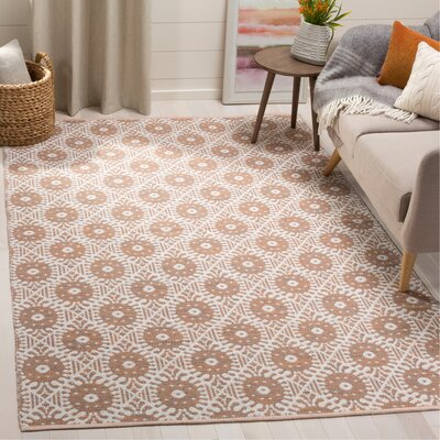 Clemence Hand-Woven Orange/Ivory Area Rug Rug Size: Rectangle 5 x 8