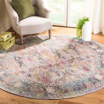 Miles Light Purple/Rose Area Rug Rug Size: Round 7