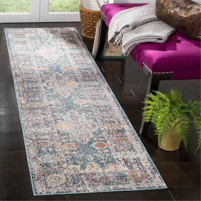 Soren Teal/Cream Area Rug Rug Size: Runner 23 x 8