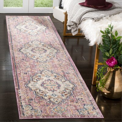 Soren Cream/Rose Area Rug Rug Size: Runner 23 x 8