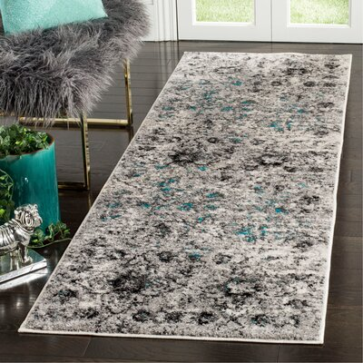 Alisa Gray/Black Area Rug Rug Size: Runner 26 x 8
