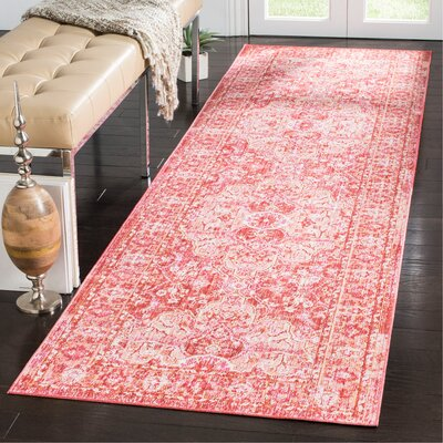 Chauncey Floral Pink Area Rug Rug Size: Rectangle 3 x 10