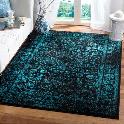 Alisa Black/Teal Area Rug Rug Size: Rectangle 51 x 76
