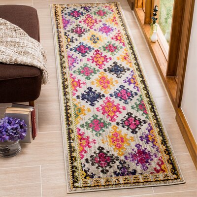 Chana Yellow/Pink Area Rug Rug Size: Runner 22 x 8