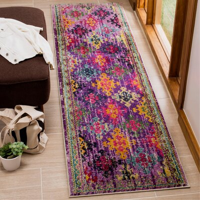 Chana Purple/Pink/Yellow Area Rug Rug Size: Runner 22 x 8