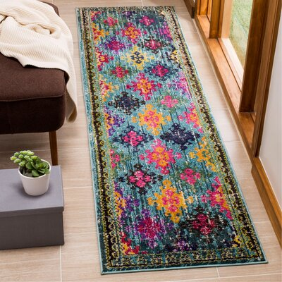 Chana Green/Pink Area Rug Rug Size: Runner 22 x 8