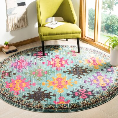 Chana Green/Pink Area Rug Rug Size: Round 67
