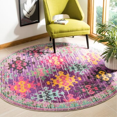 Chana Purple/Pink/Yellow Area Rug Rug Size: Round 67