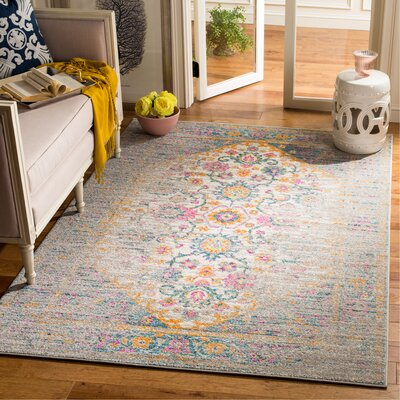 Esparza Boho Light Gray Area Rug Rug Size: Rectangle 51 x 76