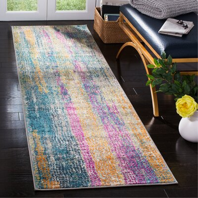 Esparza Contemporary Blue/Pink Area Rug Rug Size: Runner 23 x 8