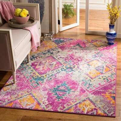 Esparza Contemporary Fuchsia Area Rug Rug Size: Rectangle 51 x 76