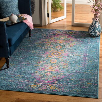 Esparza Blue Area Rug Rug Size: Rectangle 51 x 76