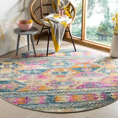 Esparza Pink Area Rug Rug Size: Round 67