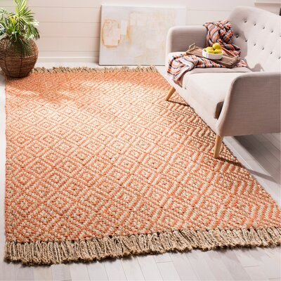 Collinsville Fiber Hand Woven Orange Area Rug� Rug Size: Rectangle 6 x 9