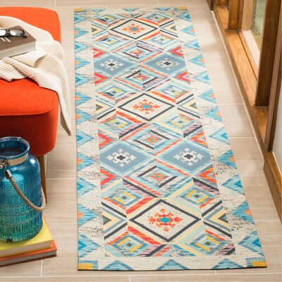Sonakshi Hand Tufted Blue Geometric Area Rug Rug Size: Runner 23 x 8