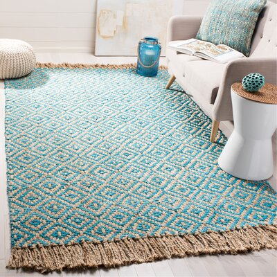 Miami Springs Natural Fiber Hand Tufted Turquoise Area Rug� Rug Size: Rectangle 5 x 8