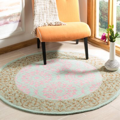 Tomo Hand-Hooked Taupe Area Rug Rug Size: Round 5