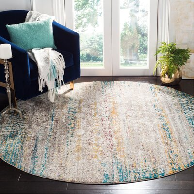 Andy Cream Area Rug Rug Size: Round 65