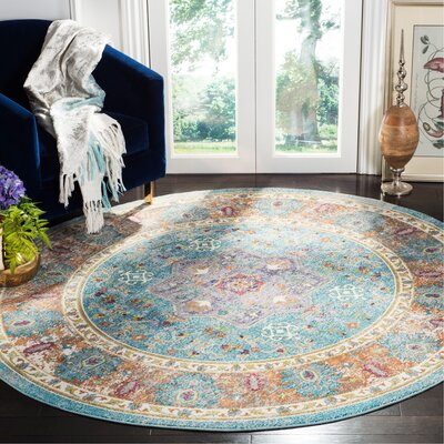 Andy Blue Area Rug Rug Size: Round 67