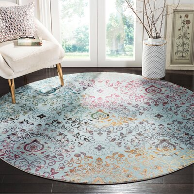 Andy Blue Area Rug Rug Size: Round 65