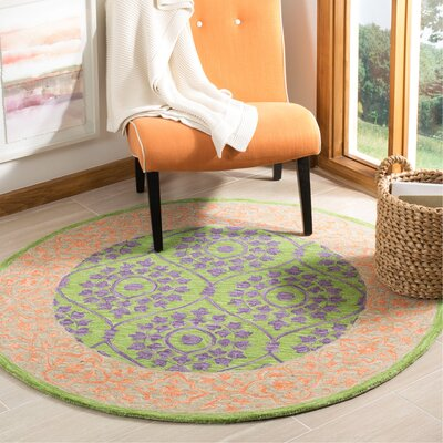 Tomo Hand-Hooked Green Area Rug Rug Size: Round 5