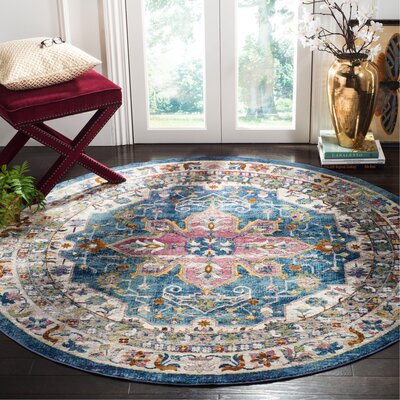 Andy Blue Indoor Area Rug Rug Size: Round 65