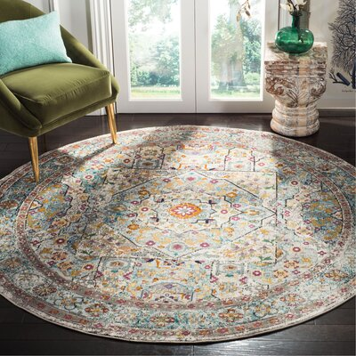 Andy Cream Area Rug Rug Size: Round 6'5
