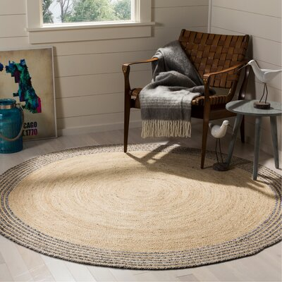 Abhay Hand Woven Ivory Area Rug Rug Size: Round 6