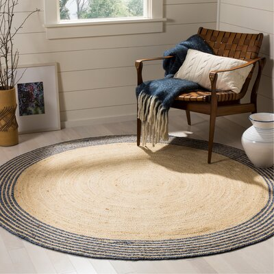 Abhay Hand Woven Cotton Round Ivory Area Rug Rug Size: Round 6