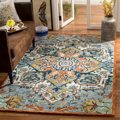 Chancellor Hand-Tufted Wool Blue/Rust Area Rug Rug Size: Rectangle 5 x 8