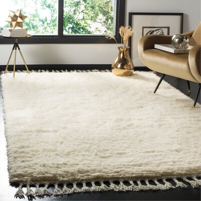 Janis Shag Hand Tufted Wool Ivory Area Rug Rug Size: Rectangle 5 x 8