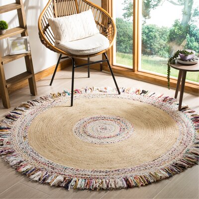 Abhay Hand Woven Round Ivory Area Rug Rug Size: Round 6
