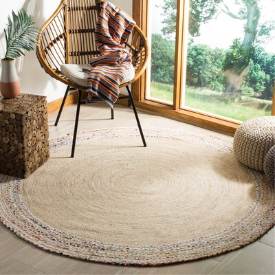 Abhay Hand Woven Cotton Ivory Area Rug Rug Size: Round 6