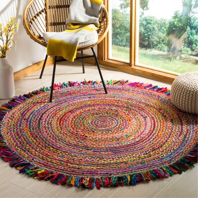 Abhay Boho Hand Woven Cotton Round Red/Blue Area Rug Rug Size: Round 6