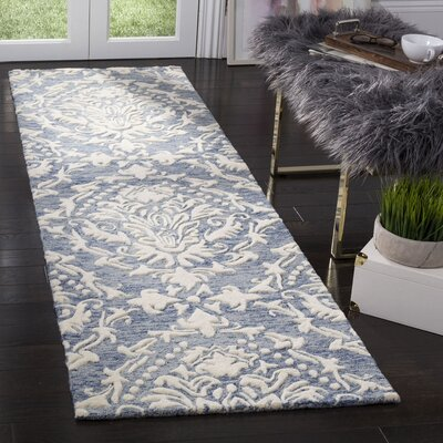 Jahiem Hand Tufted Wool Blue Area Rug Rug Size: Runner 23 x 8