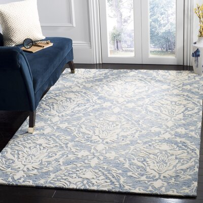 Jahiem Hand Tufted Wool Blue Area Rug Rug Size: Square 6