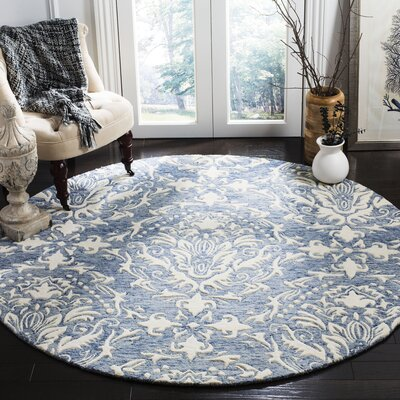 Jahiem Hand Tufted Wool Blue Area Rug Rug Size: Round 6