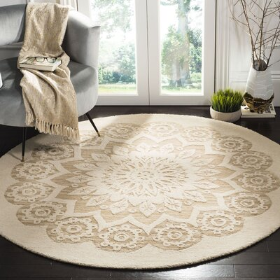 Jahiem Hand Tufted Wool Ivory Area Rug Rug Size: Round 6