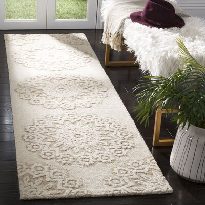 Jahiem Hand Tufted Wool Ivory Area Rug Rug Size: Runner 23 x 8