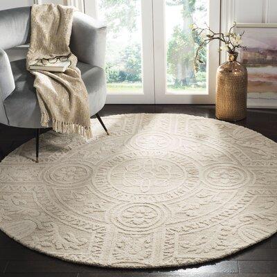 Jahiem Hand Tufted Wool Beige Area Rug Rug Size: Round 6