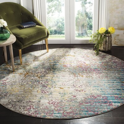 Andy Fuchsia/Ivory Area Rug Rug Size: Round 65 x 65