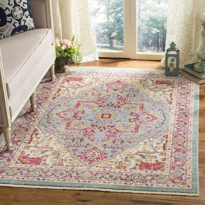 Justine Aqua Area Rug Rug Size: Rectangle 5 x 7