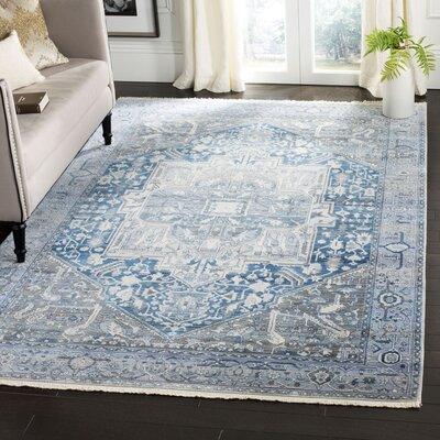 Egremont Vintage Persian Blue Area Rug Rug Size: Rectangle 6 x 9