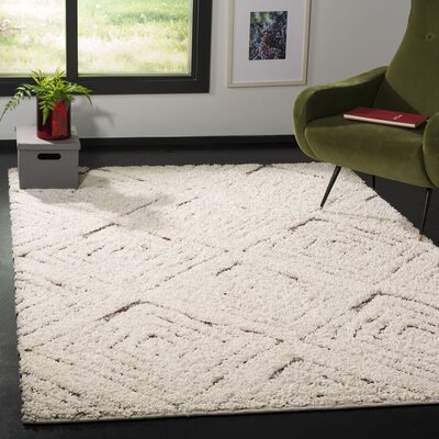 Chou Shag Cream Area Rug Rug Size: Rectangle 51 x 76