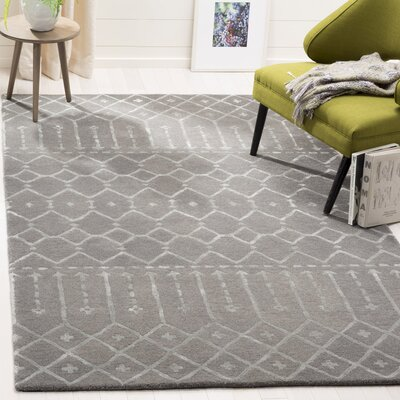 Cuddy Hand-Tufted Wool Gray Area Rug Rug Size: Rectangle 5 x 8