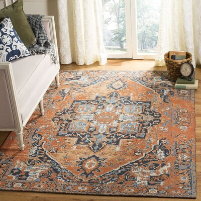 Chenault Orange/Navy Area Rug Rug Size: Rectangle 5 x 8