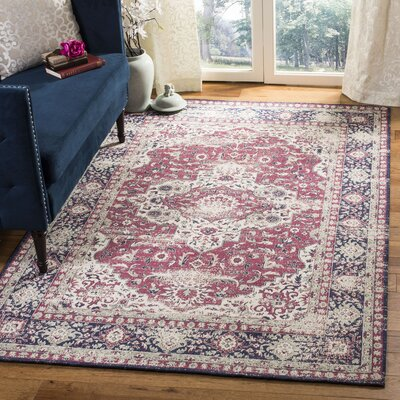 Foxborough Classic Vintage Rose/Ivory Area Rug Rug Size: Rectangle 5' x 8'