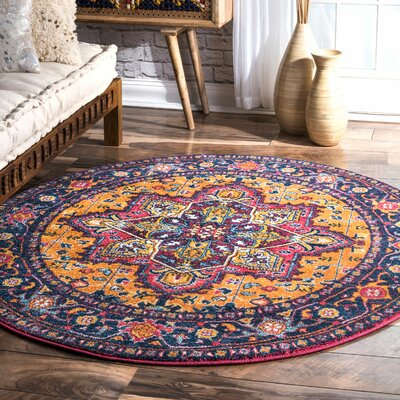 Paloma Pink/Orange Area Rug Rug Size: Round 5'