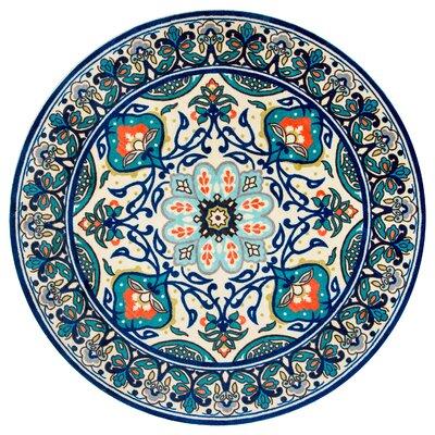 Kujawa Blue Area Rug Rug Size: Round 6