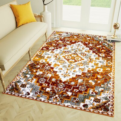 Rosie Diamond Burnt Orange Area Rug Rug Size: 53 x 73